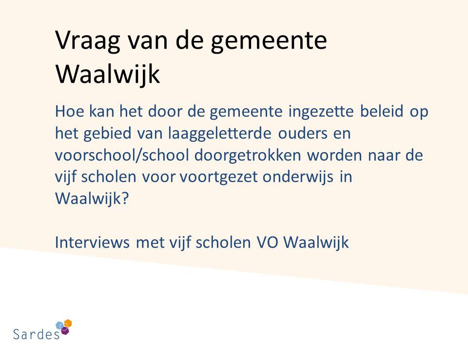 Vraag van de gemeente Waalwijk Hoe kan het door de gemeente ingezette beleid op het gebied van laaggeletterde ouders en voorschool/school doorgetrokken worden naar de vijf scholen voor voortgezet onderwijs in Waalwijk.