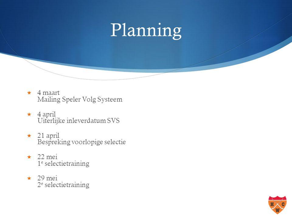 Planning  4 maart Mailing Speler Volg Systeem  4 april Uiterlijke inleverdatum SVS  21 april Bespreking voorlopige selectie  22 mei 1 e selectietraining  29 mei 2 e selectietraining