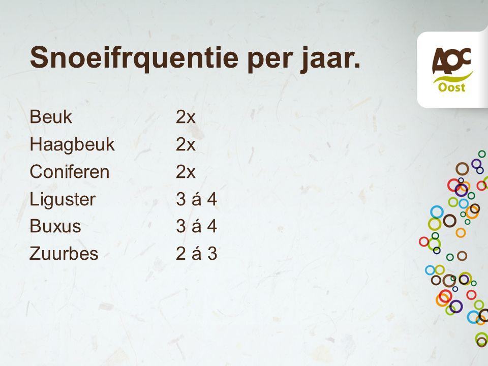 Snoeifrquentie per jaar. Beuk 2x Haagbeuk 2x Coniferen2x Liguster3 á 4 Buxus 3 á 4 Zuurbes2 á 3