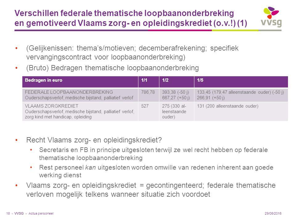 VVSG - Verschillen federale thematische loopbaanonderbreking en gemotiveerd Vlaams zorg- en opleidingskrediet (o.v.!) (1) (Gelijkenissen: thema's/motieven; decemberafrekening; specifiek vervangingscontract voor loopbaanonderbreking) (Bruto) Bedragen thematische loopbaanonderbreking Recht Vlaams zorg- en opleidingskrediet.