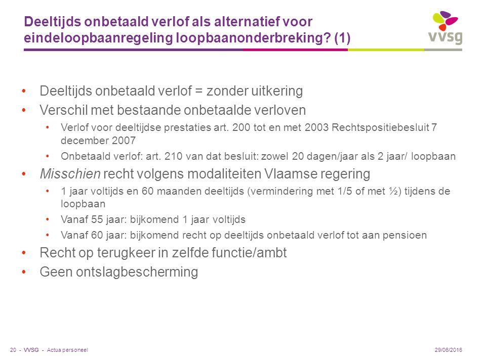 VVSG - Deeltijds onbetaald verlof als alternatief voor eindeloopbaanregeling loopbaanonderbreking.