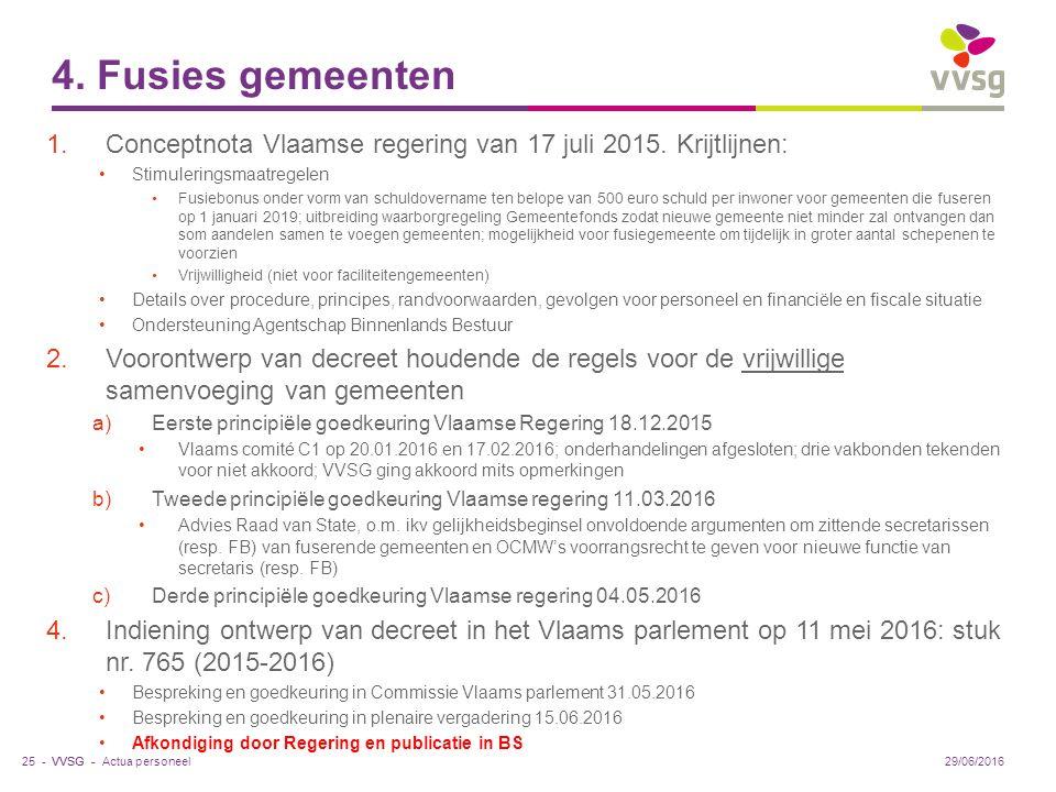 VVSG - 4. Fusies gemeenten 1.Conceptnota Vlaamse regering van 17 juli 2015.