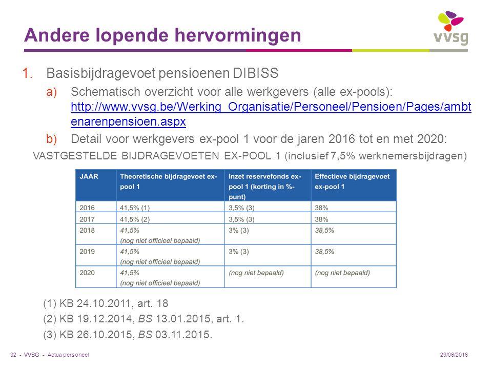 VVSG - Andere lopende hervormingen 1.Basisbijdragevoet pensioenen DIBISS a)Schematisch overzicht voor alle werkgevers (alle ex-pools): http://www.vvsg.be/Werking_Organisatie/Personeel/Pensioen/Pages/ambt enarenpensioen.aspx http://www.vvsg.be/Werking_Organisatie/Personeel/Pensioen/Pages/ambt enarenpensioen.aspx b)Detail voor werkgevers ex-pool 1 voor de jaren 2016 tot en met 2020: VASTGESTELDE BIJDRAGEVOETEN EX-POOL 1 (inclusief 7,5% werknemersbijdragen) (1) KB 24.10.2011, art.