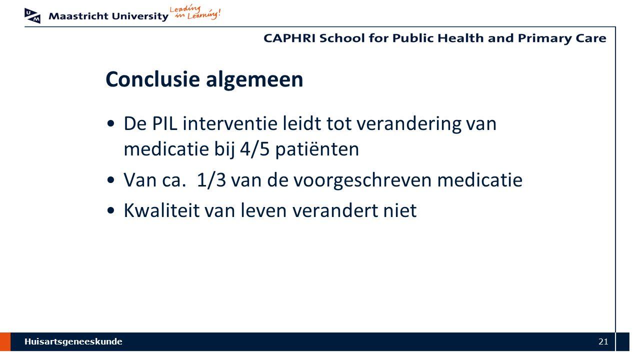 Huisartsgeneeskunde 21 Conclusie algemeen De PIL interventie leidt tot verandering van medicatie bij 4/5 patiënten Van ca. 1/3 van de voorgeschreven m