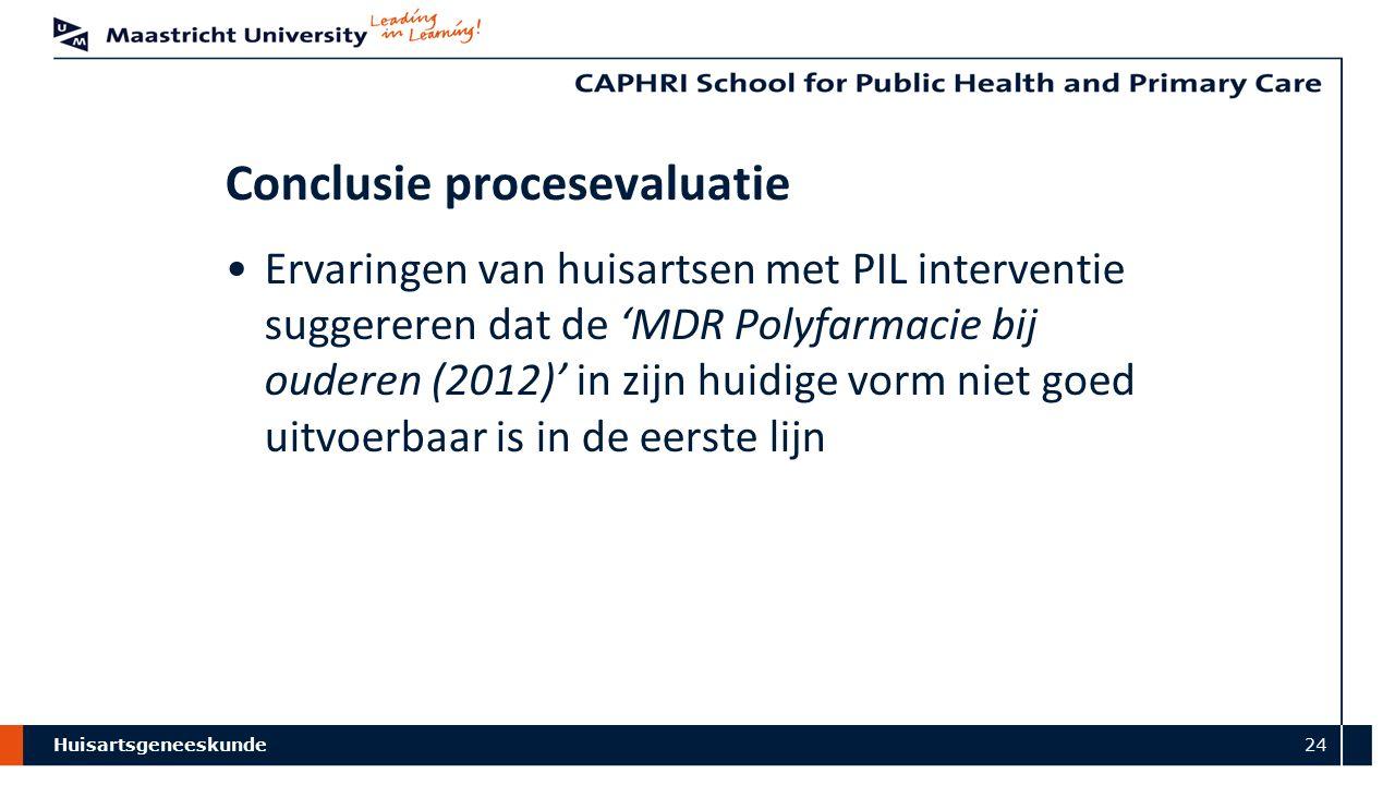 Huisartsgeneeskunde 24 Conclusie procesevaluatie Ervaringen van huisartsen met PIL interventie suggereren dat de 'MDR Polyfarmacie bij ouderen (2012)' in zijn huidige vorm niet goed uitvoerbaar is in de eerste lijn