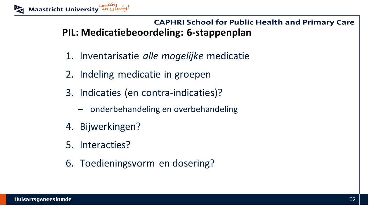 Huisartsgeneeskunde 32 PIL: Medicatiebeoordeling: 6-stappenplan 1.Inventarisatie alle mogelijke medicatie 2.Indeling medicatie in groepen 3.Indicaties (en contra-indicaties).