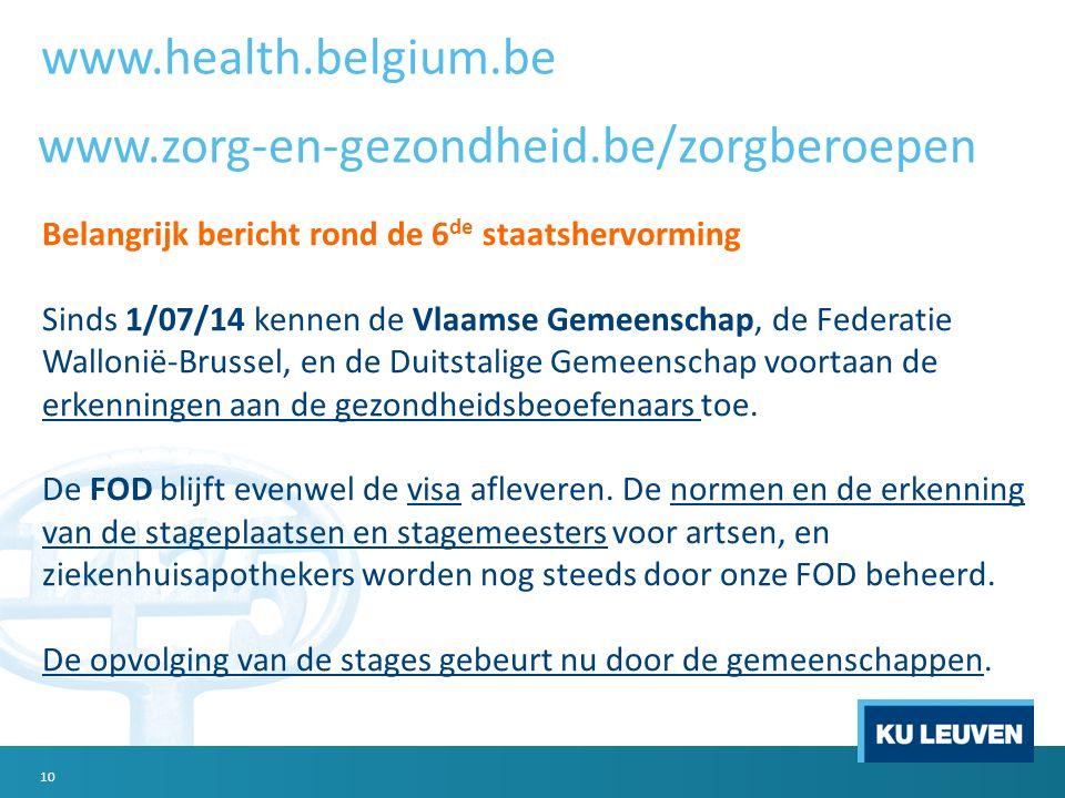 10 Belangrijk bericht rond de 6 de staatshervorming Sinds 1/07/14 kennen de Vlaamse Gemeenschap, de Federatie Wallonië-Brussel, en de Duitstalige Geme