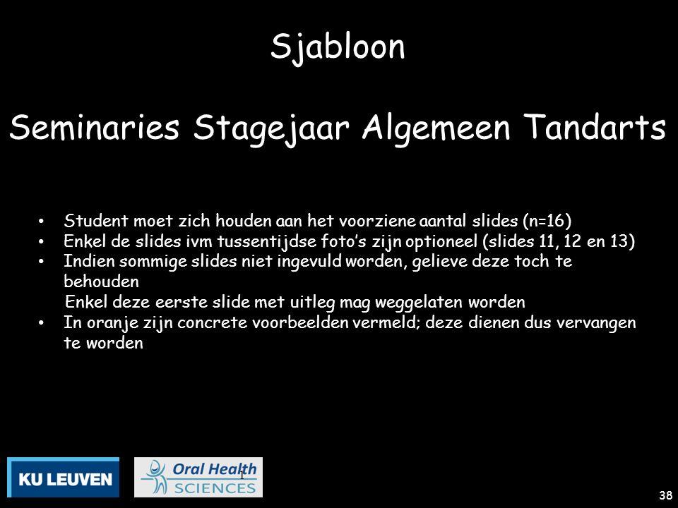1 38 Sjabloon Seminaries Stagejaar Algemeen Tandarts Student moet zich houden aan het voorziene aantal slides (n=16) Enkel de slides ivm tussentijdse