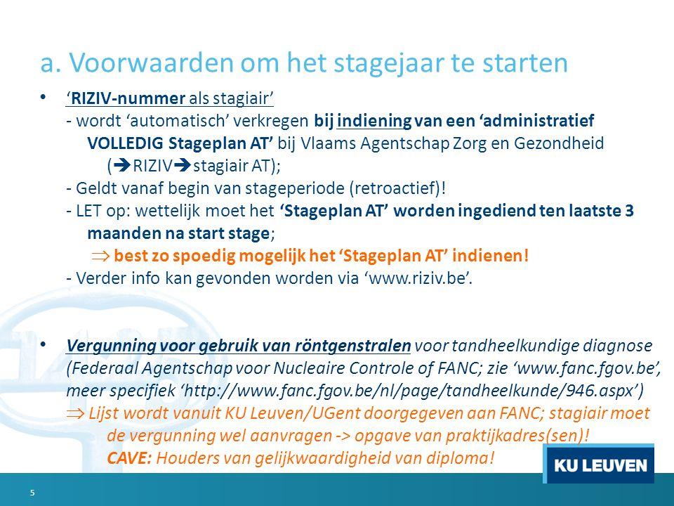 a. Voorwaarden om het stagejaar te starten 'RIZIV-nummer als stagiair' - wordt 'automatisch' verkregen bij indiening van een 'administratief VOLLEDIG