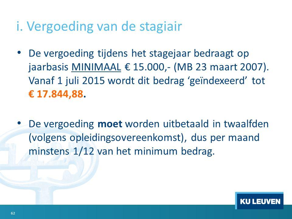i. Vergoeding van de stagiair De vergoeding tijdens het stagejaar bedraagt op jaarbasis MINIMAAL € 15.000,- (MB 23 maart 2007). Vanaf 1 juli 2015 word
