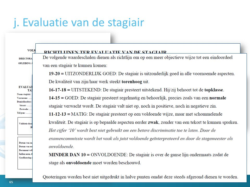 j. Evaluatie van de stagiair 65
