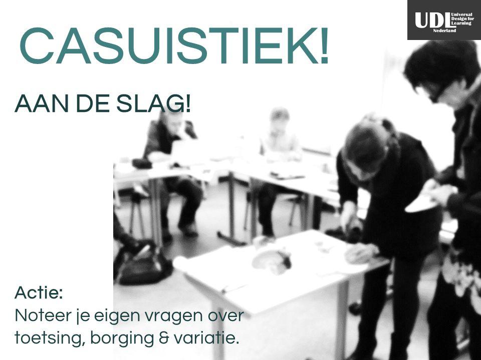 CASUISTIEK! AAN DE SLAG! Actie: Noteer je eigen vragen over toetsing, borging & variatie.