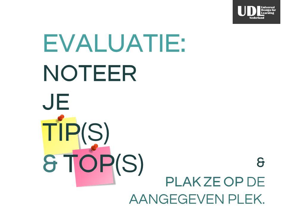 & PLAK ZE OP DE AANGEGEVEN PLEK. EVALUATIE: NOTEER JE TIP(S) & TOP(S)