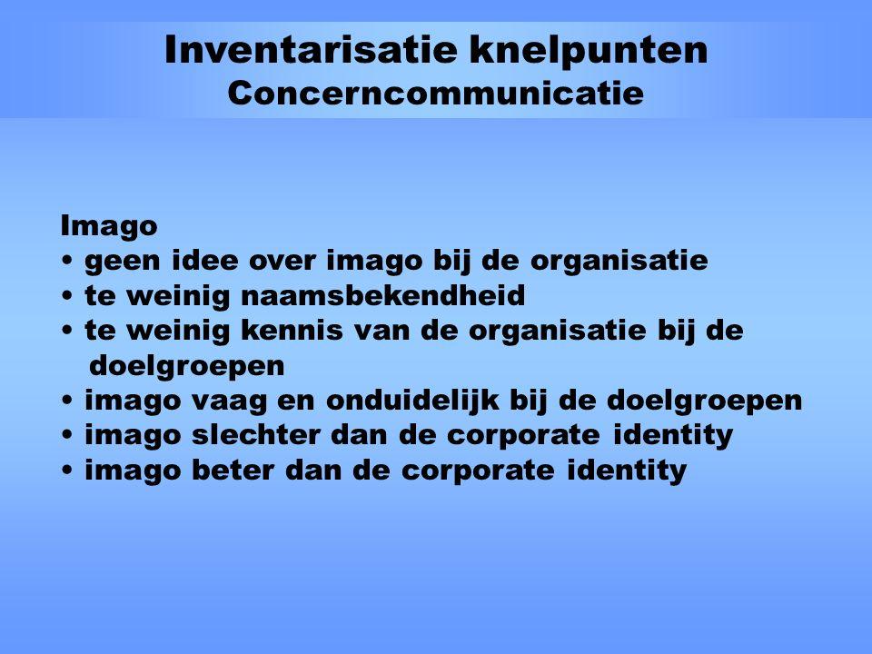 Inventarisatie knelpunten Concerncommunicatie Organisatorisch te weinig systematiek te weinig interactie te weinig integratie geen duidelijk communicatiebeleid Doelgroepgerichtheid doelgroepen niet in kaart gebracht geen doelgroepsegmentatie geen prioriteiten