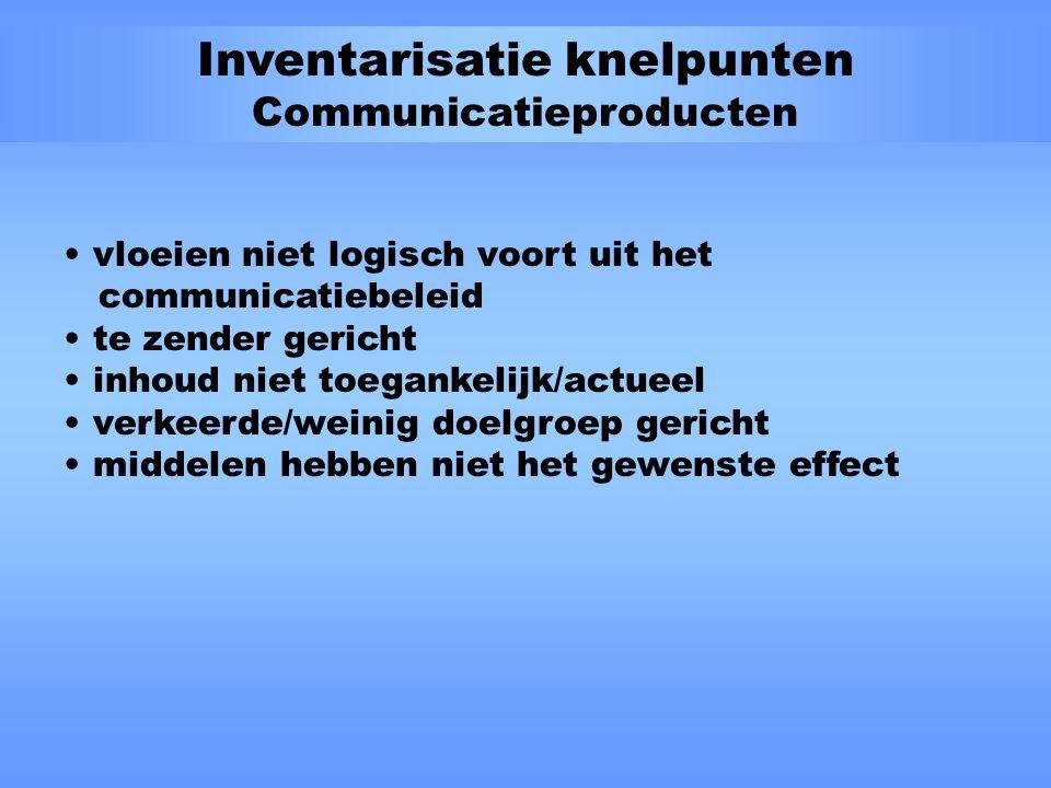 Inventarisatie knelpunten Marketingcommunicatie afstemming marketingcommunicatie en concerncommunicatie afstemming beleid, strategie, middelen, boodschap kennis, attitude en intentie tot gedrag positionering producten