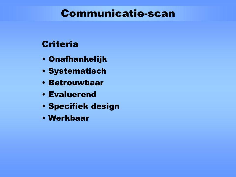 Inventarisatie knelpunten Communicatieproducten vloeien niet logisch voort uit het communicatiebeleid te zender gericht inhoud niet toegankelijk/actueel verkeerde/weinig doelgroep gericht middelen hebben niet het gewenste effect