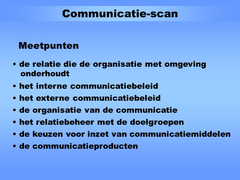 Communicatie-scan Fasen 1.