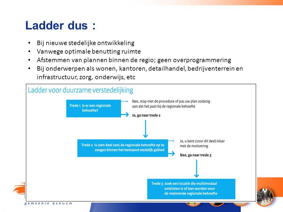 Ladder dus : Bij nieuwe stedelijke ontwikkeling Vanwege optimale benutting ruimte Afstemmen van plannen binnen de regio; geen overprogrammering Bij on