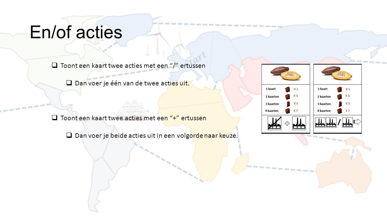 En/of acties  Toont een kaart twee acties met een / ertussen  Dan voer je één van de twee acties uit.