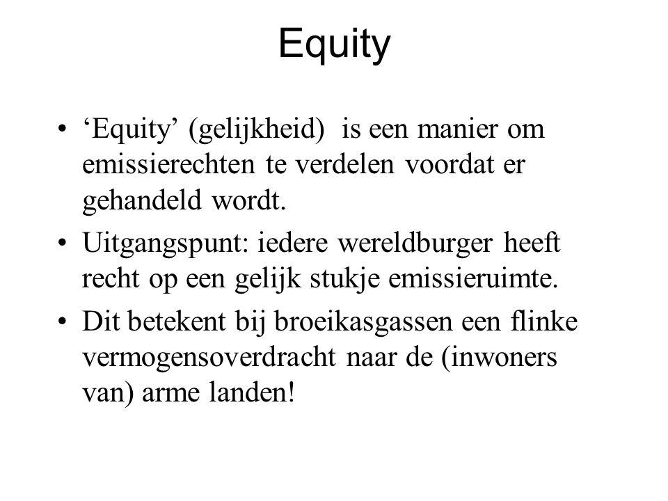 Equity 'Equity' (gelijkheid) is een manier om emissierechten te verdelen voordat er gehandeld wordt. Uitgangspunt: iedere wereldburger heeft recht op