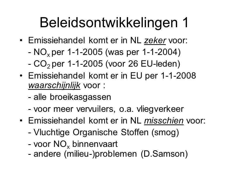 Beleidsontwikkelingen 1 Emissiehandel komt er in NL zeker voor: - NO x per 1-1-2005 (was per 1-1-2004) - CO 2 per 1-1-2005 (voor 26 EU-leden) Emissieh