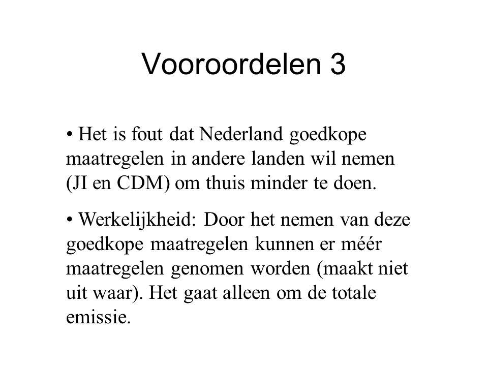 Vooroordelen 3 Het is fout dat Nederland goedkope maatregelen in andere landen wil nemen (JI en CDM) om thuis minder te doen. Werkelijkheid: Door het