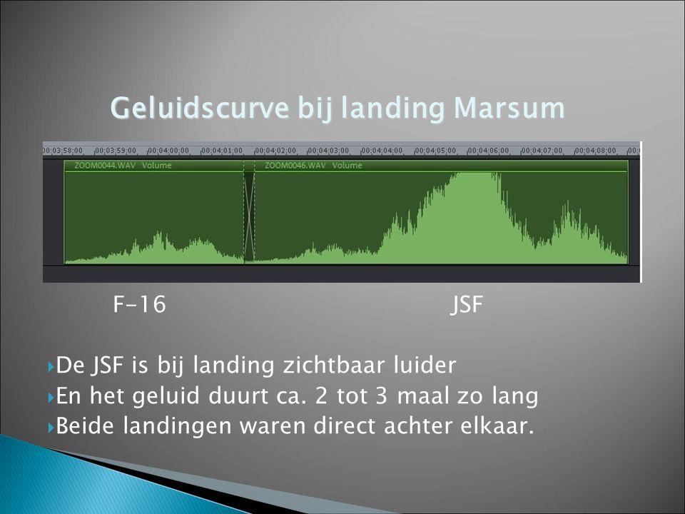 F-16JSF  De JSF is bij landing zichtbaar luider  En het geluid duurt ca. 2 tot 3 maal zo lang  Beide landingen waren direct achter elkaar. Geluidsc