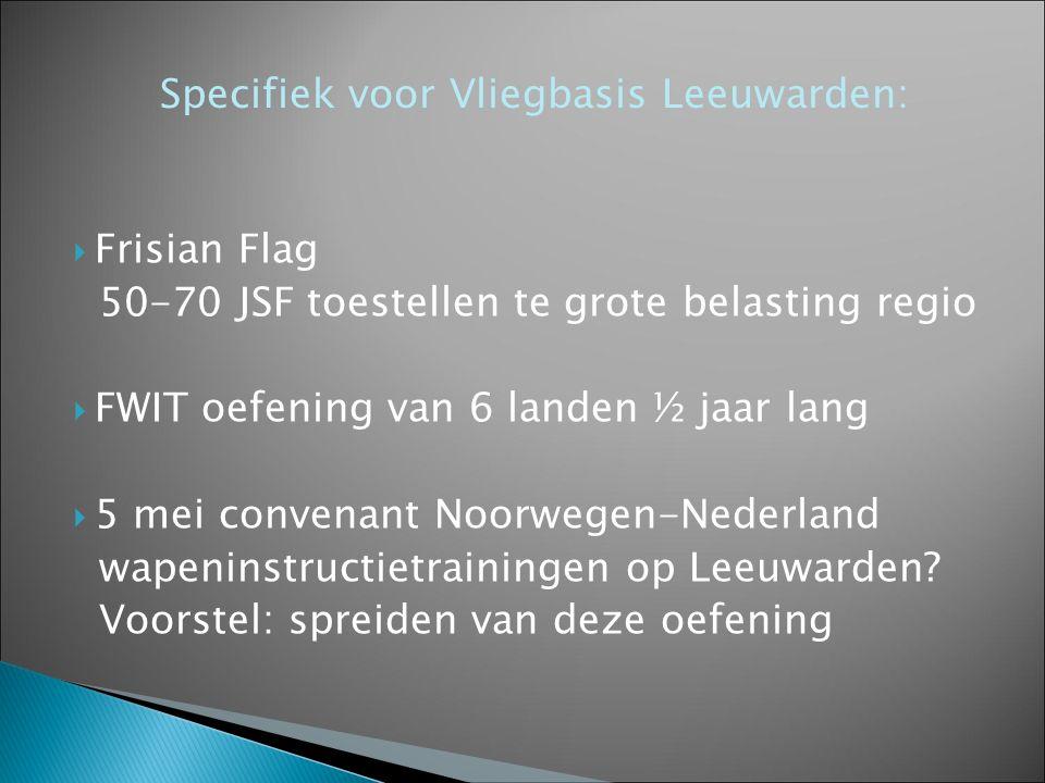  Frisian Flag 50-70 JSF toestellen te grote belasting regio  FWIT oefening van 6 landen ½ jaar lang  5 mei convenant Noorwegen-Nederland wapeninstr