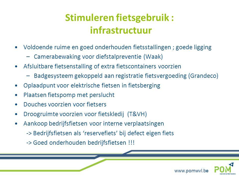 www.pomwvl.be Stimuleren fietsgebruik : infrastructuur Voldoende ruime en goed onderhouden fietsstallingen ; goede ligging –Camerabewaking voor diefst