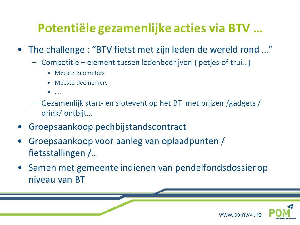 """www.pomwvl.be Potentiële gezamenlijke acties via BTV … The challenge : """"BTV fietst met zijn leden de wereld rond …"""" –Competitie – element tussen leden"""