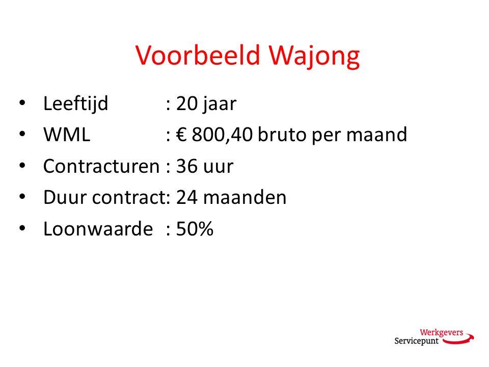 Voorbeeld Wajong Leeftijd: 20 jaar WML: € 800,40 bruto per maand Contracturen : 36 uur Duur contract: 24 maanden Loonwaarde: 50%