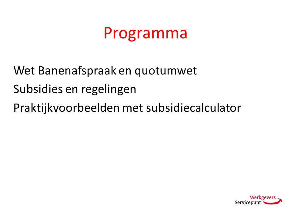 Programma Wet Banenafspraak en quotumwet Subsidies en regelingen Praktijkvoorbeelden met subsidiecalculator