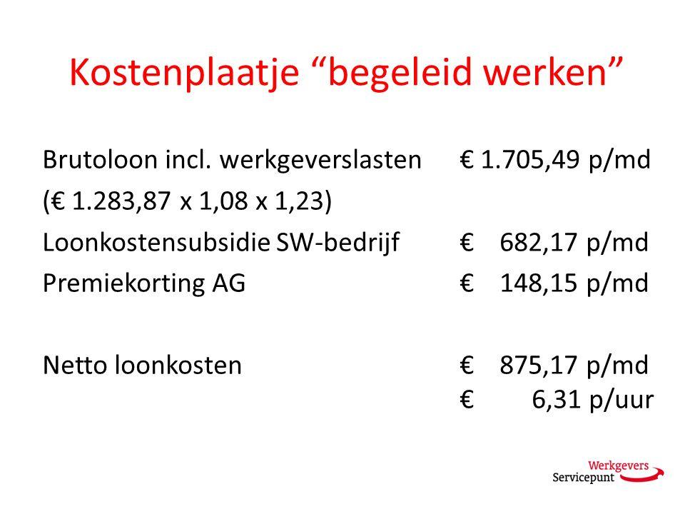 """Kostenplaatje """"begeleid werken"""" Brutoloon incl. werkgeverslasten € 1.705,49 p/md (€ 1.283,87 x 1,08 x 1,23) Loonkostensubsidie SW-bedrijf € 682,17 p/m"""
