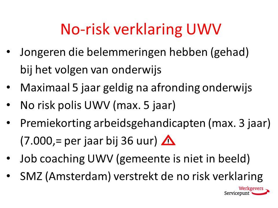No-risk verklaring UWV Jongeren die belemmeringen hebben (gehad) bij het volgen van onderwijs Maximaal 5 jaar geldig na afronding onderwijs No risk polis UWV (max.
