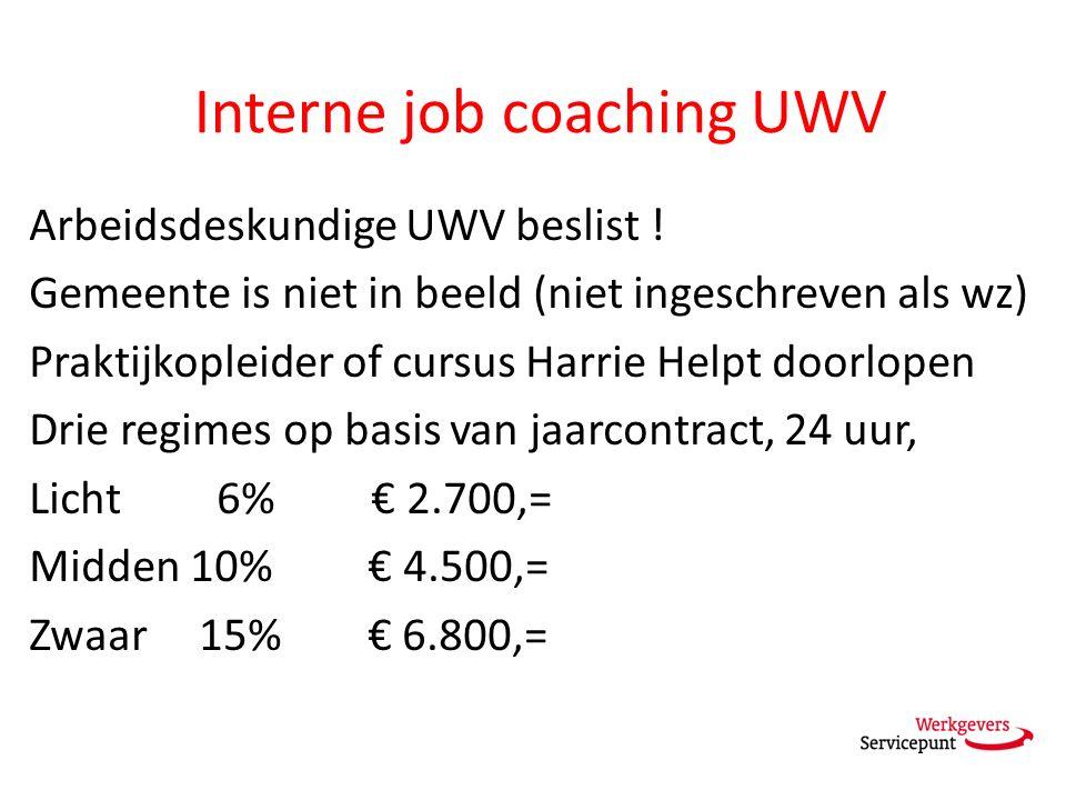 Interne job coaching UWV Arbeidsdeskundige UWV beslist ! Gemeente is niet in beeld (niet ingeschreven als wz) Praktijkopleider of cursus Harrie Helpt