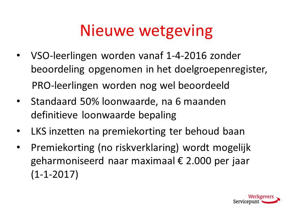 Nieuwe wetgeving VSO-leerlingen worden vanaf 1-4-2016 zonder beoordeling opgenomen in het doelgroepenregister, PRO-leerlingen worden nog wel beoordeeld Standaard 50% loonwaarde, na 6 maanden definitieve loonwaarde bepaling LKS inzetten na premiekorting ter behoud baan Premiekorting (no riskverklaring) wordt mogelijk geharmoniseerd naar maximaal € 2.000 per jaar (1-1-2017)