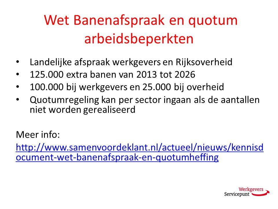 Wet Banenafspraak en quotum arbeidsbeperkten Landelijke afspraak werkgevers en Rijksoverheid 125.000 extra banen van 2013 tot 2026 100.000 bij werkgev