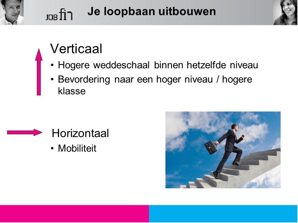 Verticaal Hogere weddeschaal binnen hetzelfde niveau Bevordering naar een hoger niveau / hogere klasse Horizontaal Mobiliteit Je loopbaan uitbouwen