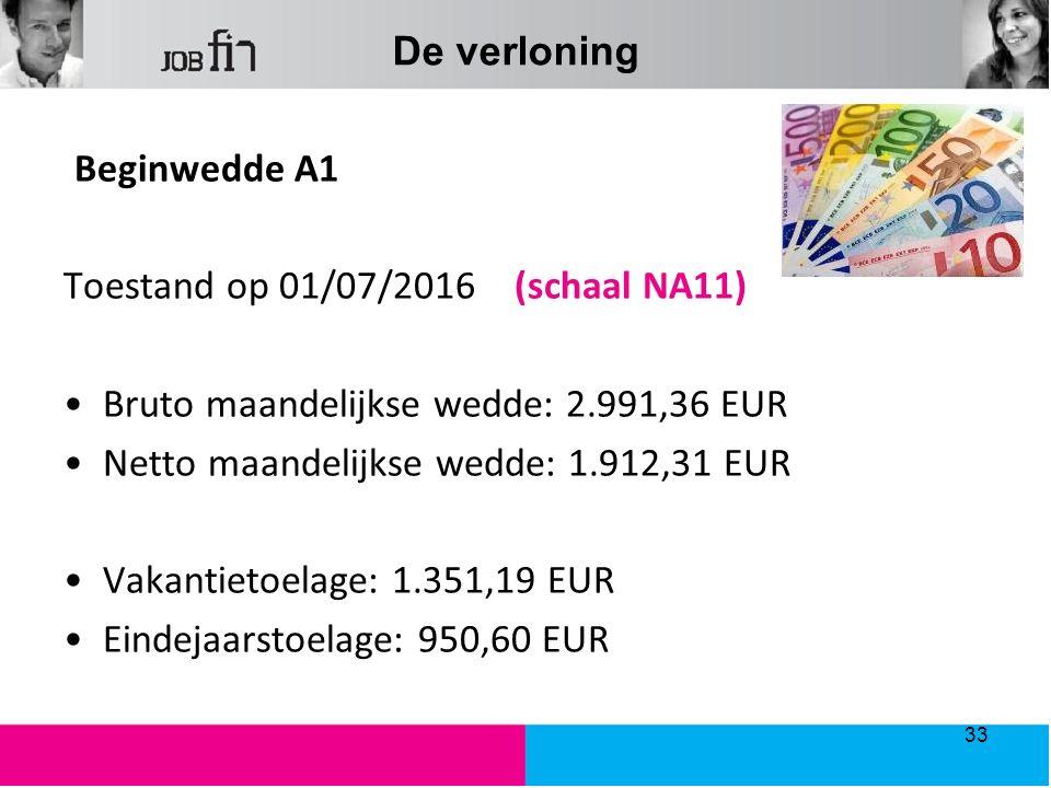 De verloning Beginwedde A1 Toestand op 01/07/2016 (schaal NA11) Bruto maandelijkse wedde: 2.991,36 EUR Netto maandelijkse wedde: 1.912,31 EUR Vakantie