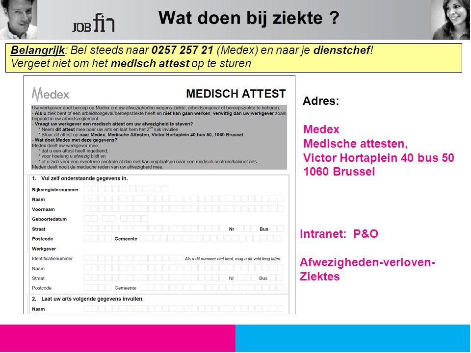 Belangrijk Belangrijk: Bel steeds naar 0257 257 21 (Medex) en naar je dienstchef! Vergeet niet om het medisch attest op te sturen Adres: Medex Medisch