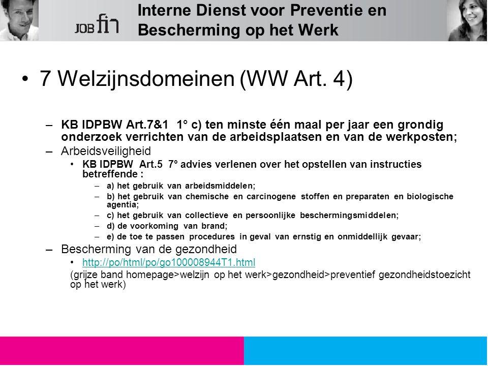 Interne Dienst voor Preventie en Bescherming op het Werk 7 Welzijnsdomeinen (WW Art. 4) –KB IDPBW Art.7&1 1° c) ten minste één maal per jaar een grond