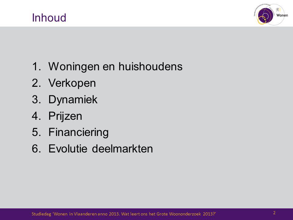 Inhoud 1.Woningen en huishoudens 2.Verkopen 3.Dynamiek 4.Prijzen 5.Financiering 6.Evolutie deelmarkten Studiedag 'Wonen in Vlaanderen anno 2013. Wat l
