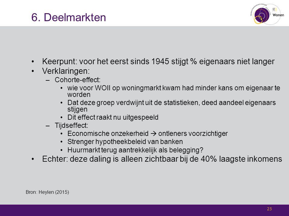 6. Deelmarkten Keerpunt: voor het eerst sinds 1945 stijgt % eigenaars niet langer Verklaringen: –Cohorte-effect: wie voor WOII op woningmarkt kwam had