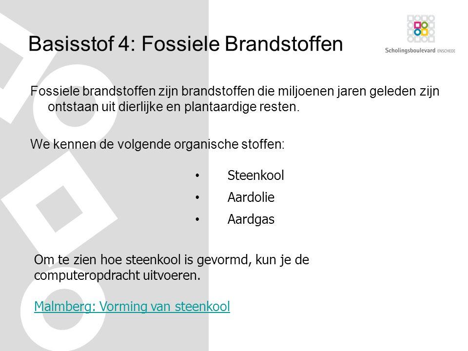 Basisstof 4: Fossiele Brandstoffen Fossiele brandstoffen zijn brandstoffen die miljoenen jaren geleden zijn ontstaan uit dierlijke en plantaardige resten.