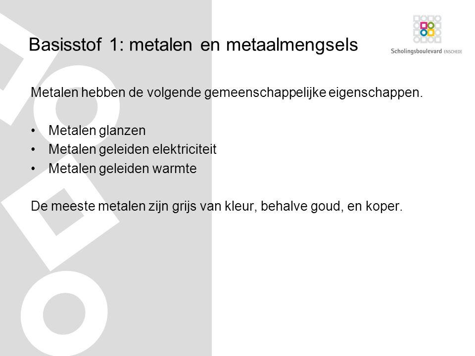 Basisstof 1: metalen en metaalmengsels Metalen hebben de volgende gemeenschappelijke eigenschappen.