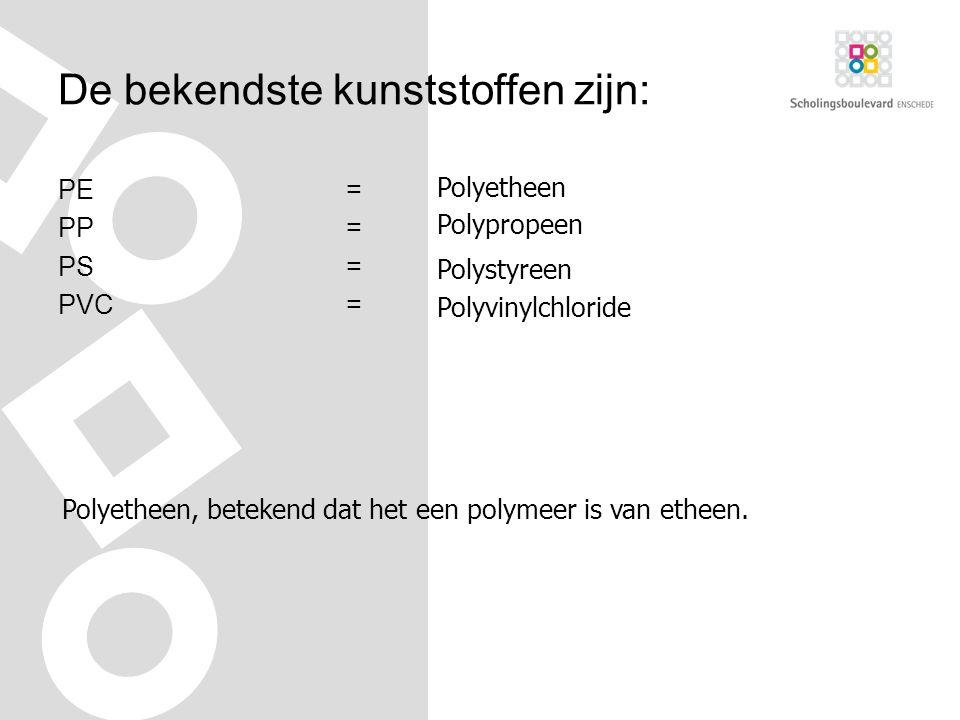 De bekendste kunststoffen zijn: PE= PP= PS= PVC= Polyetheen Polypropeen Polystyreen Polyvinylchloride Polyetheen, betekend dat het een polymeer is van etheen.