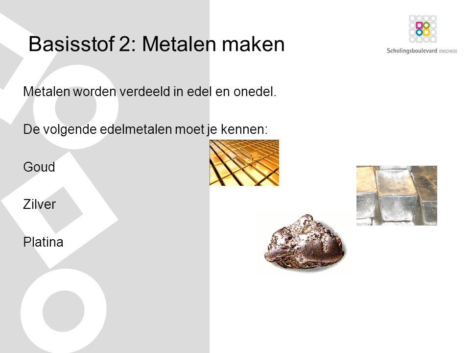 Basisstof 2: Metalen maken Metalen worden verdeeld in edel en onedel.