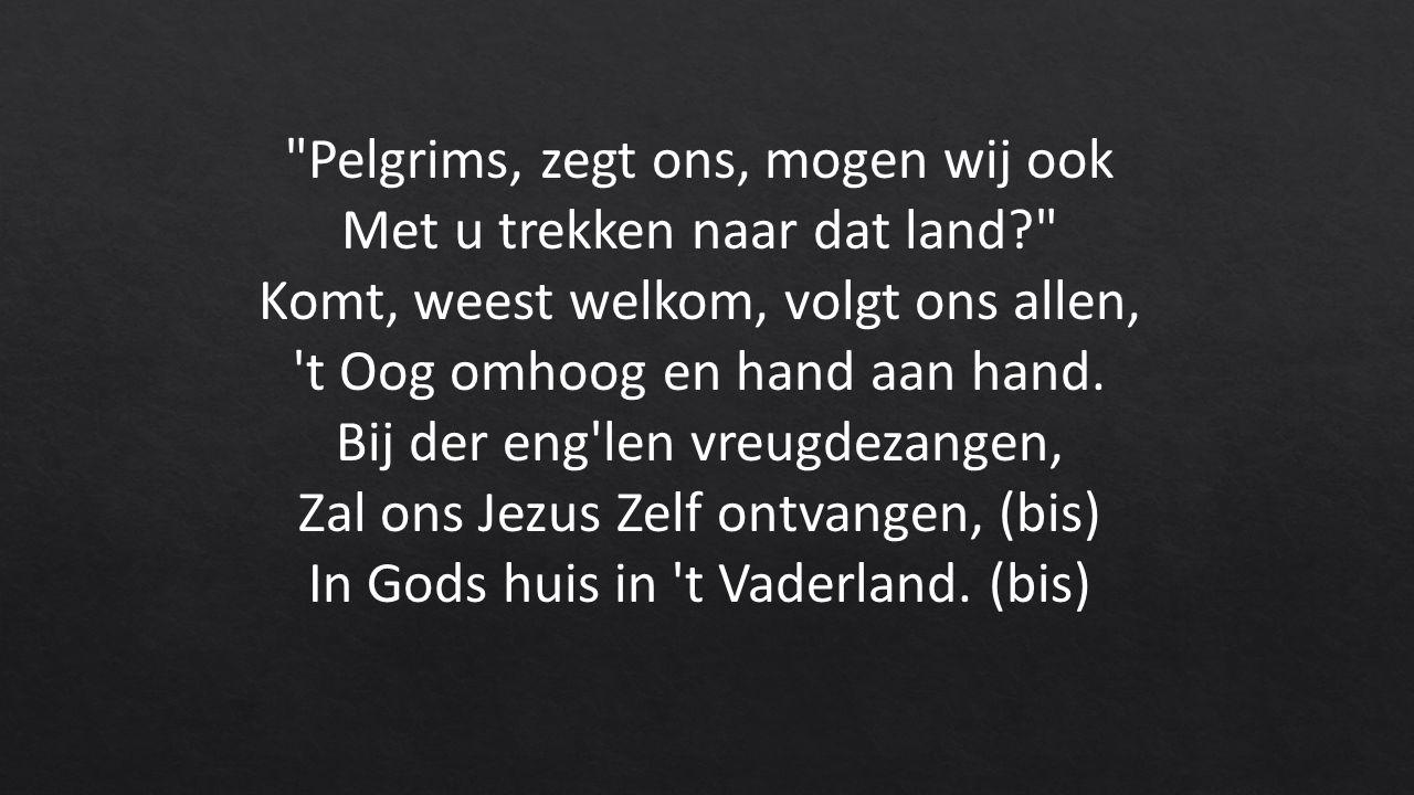 Pelgrims, zegt ons, mogen wij ook Met u trekken naar dat land Komt, weest welkom, volgt ons allen, t Oog omhoog en hand aan hand.