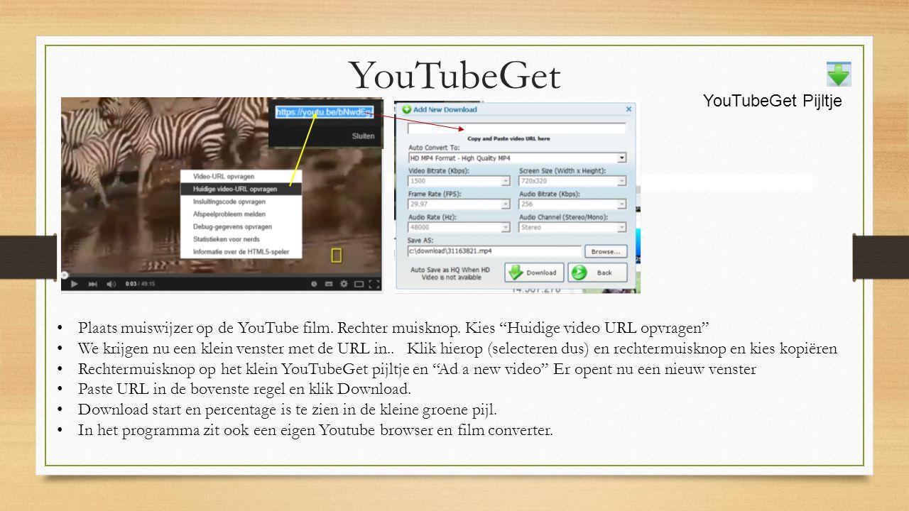 Plaats muiswijzer op de YouTube film. Rechter muisknop.