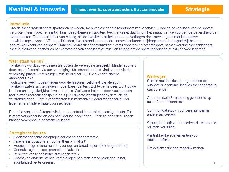 Strategie Introductie Steeds meer Nederlanders sporten en bewegen, toch verliest de tafeltennissport marktaandeel.